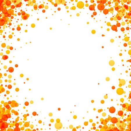 Fond blanc avec des gouttes jaunes et orange. Illustration vectorielle.