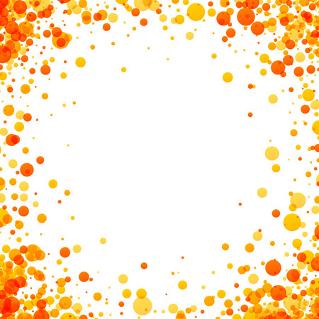 Wit papier achtergrond met gele en oranje druppels. Vector illustratie.