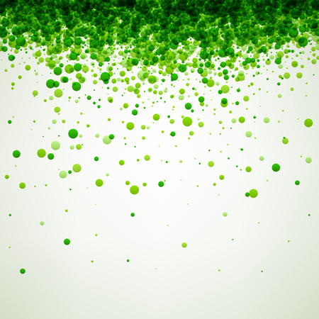 White paper background with green drops. Vector illustration.