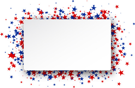 Background with red and blue stars. Vector paper illustration.