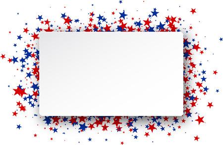 marco cumpleaños: Fondo con las estrellas rojas y azules. Vector ilustración de papel.