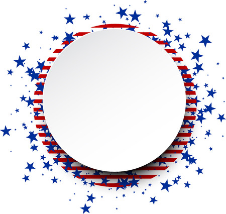 red white and blue: Round background with stripes and stars. Vector paper illustration. Illustration