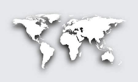 Gray 3d world map with shadow. Vector paper illustration.