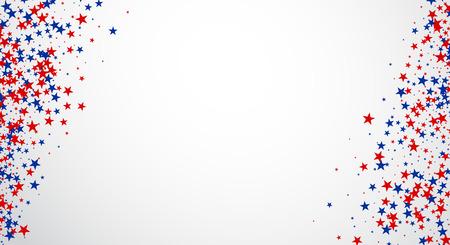 Arrière-plan avec des étoiles rouges et bleues. Vector papier illustration.