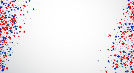 Fondo con las estrellas rojas y azules. Vector ilustración de papel.