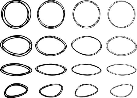 pictured: Black oval and round pictured frames set. Vector paper illustration.