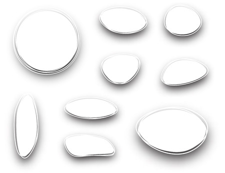 original circular abstract: Set of white oval and round backgrounds. Vector paper illustration.