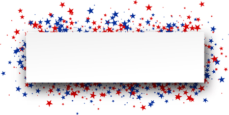 red white and blue: Banner with red and blue stars. Vector paper illustration.