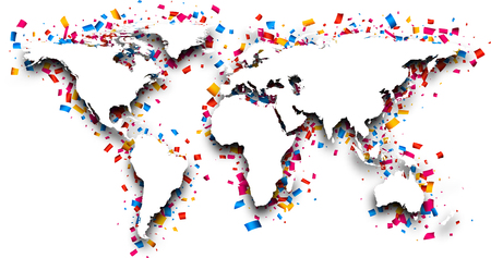 the map of the world: 3d world map with colour confetti. Vector paper illustration.