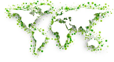 bionomics: Green 3d world map. Vector paper illustration.