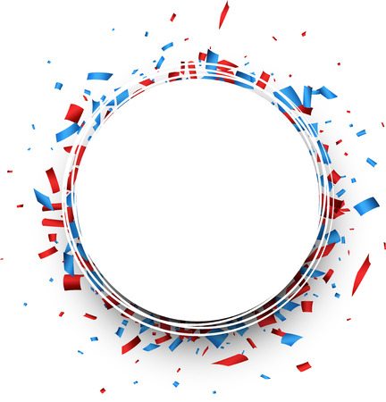 Round background with red and blue confetti. Vector illustration. Illusztráció