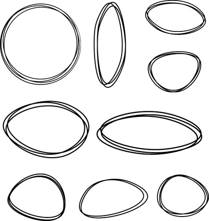 original circular abstract: Black oval and round pictured frames set. Vector paper illustration.