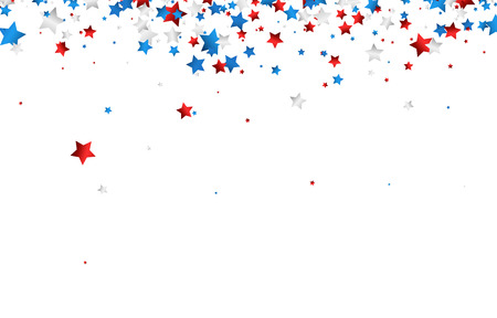 Background with red, white, blue stars. Vector paper illustration.