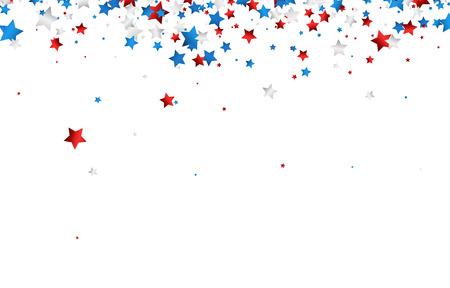 Sfondo con stelle rosse, bianche, blu. Illustrazione di carta vettoriale.