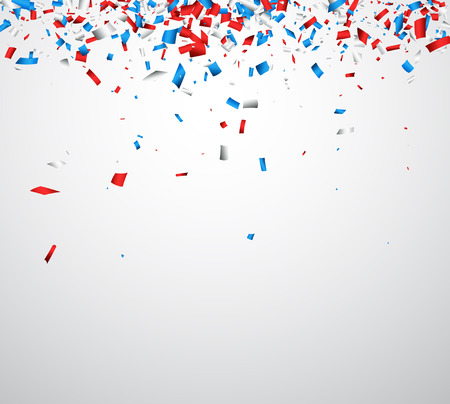 Background with red, white, blue confetti. Vector illustration.
