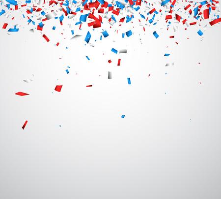 Hintergrund mit roten, weißen, blauen Konfetti. Vektor-Illustration.