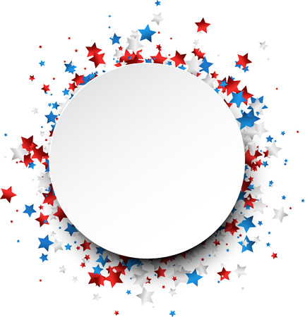 red white blue: Round background with red, white, blue stars. Vector paper illustration.