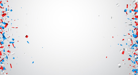 Bannière rouge, blanc, bleu confetti. Vector illustration.