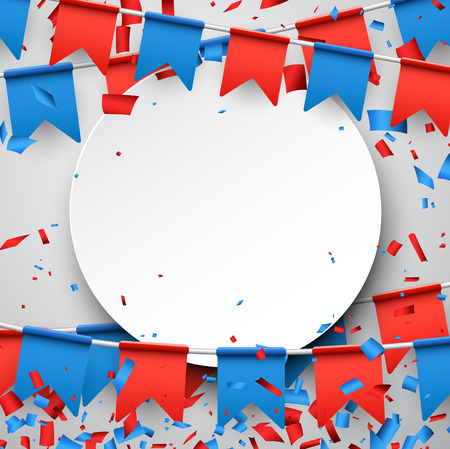 Round background with garlands of red and blue flags. Vector illustration.