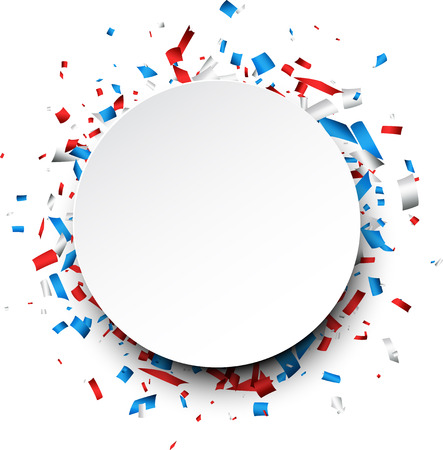 Round background with red, white, blue confetti. Vector illustration.