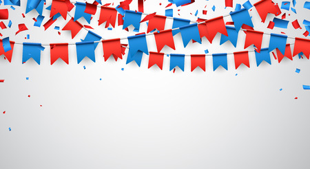 Background with garland of red and blue flags. Vector illustration.