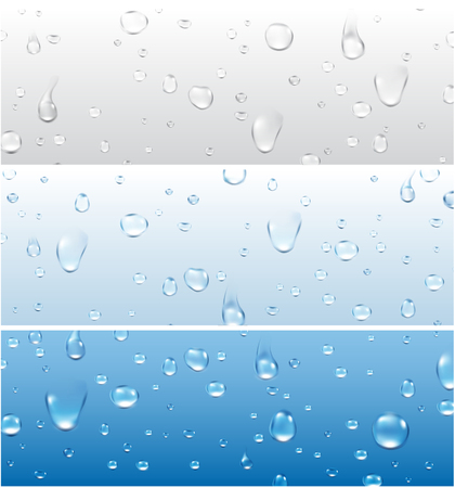 Banners set with water drops. Vector paper illustration.