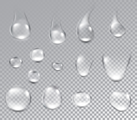 Water drops on textured background. Vector paper illustration.