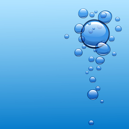 blue bubbles: Blue water background with bubbles. Vector illustration. Illustration