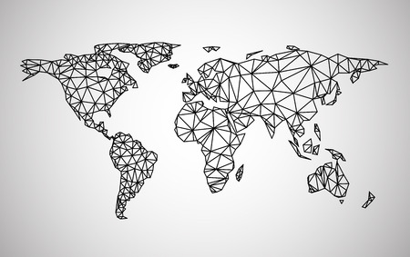 Black abstract world map. Vector paper illustration. Çizim