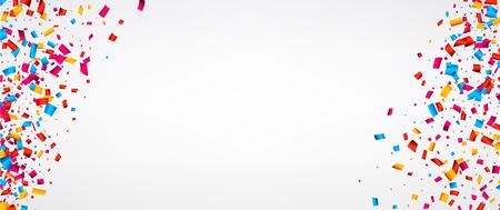 Bandiera festiva bianca con confetti di colore. Illustrazione di carta vettoriale.