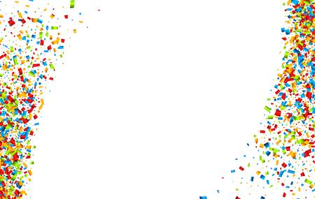white colour: White festive background with colour confetti. Vector paper illustration.