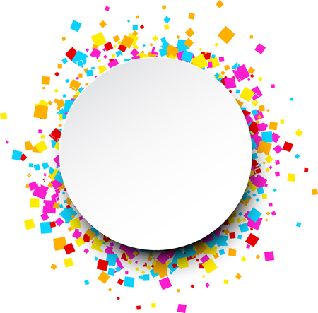 white colour: White round background with colour squares. Vector paper illustration. Illustration