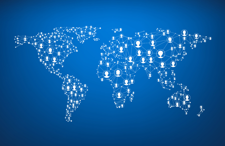 Blue global communications world map with heads. Vector paper illustration.