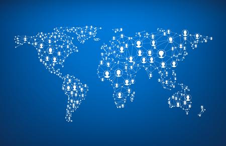 communicatie: Blue wereldwijde communicatie wereldkaart met koppen. Vector papier illustratie. Stock Illustratie