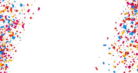 Witte feestelijke achtergrond met kleur confetti. Vector papier illustratie.
