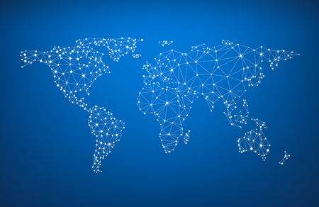 Blue global communications world map. Vector paper illustration.