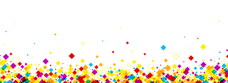vector banner: White banner with color rhombs. Vector paper illustration.