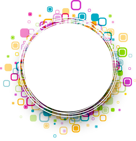 white colour: White round background with colour geometric pattern. Vector paper illustration.