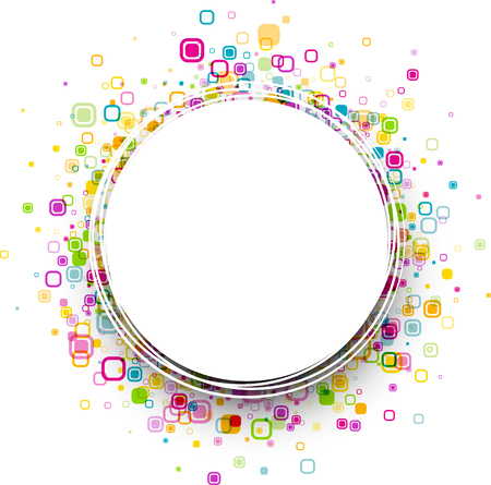 original circular abstract: White round background with colour geometric pattern. Vector paper illustration.