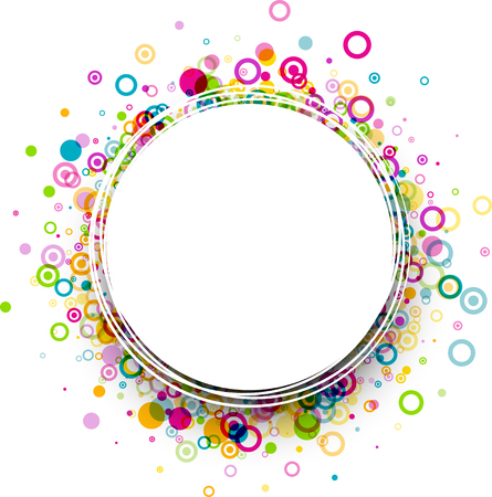 white colour: White round background with colour circles pattern. Illustration
