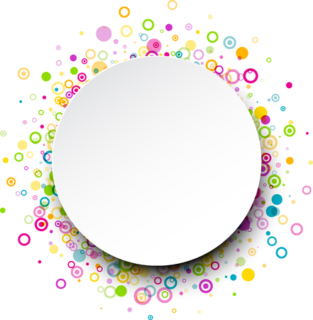 circles pattern: White round background with colour circles pattern. Illustration