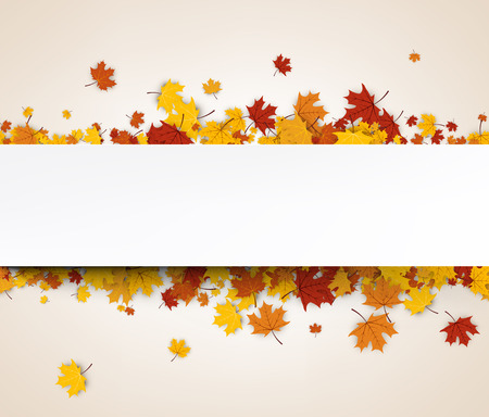 Autumn banner with golden maple leaves. Vector paper illustration.