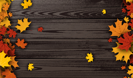 maple leaves: Wooden texture autumn background with golden maple leaves. Vector illustration.