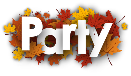 Party autumn background with golden maple leaves. Vector illustration.