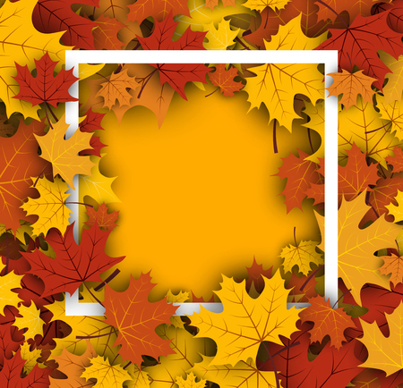 maple leaves: Autumn yellow background with golden maple leaves. Vector paper illustration.