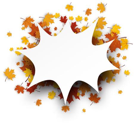 ocher: Autumn background with golden maple leaves. Vector paper illustration.