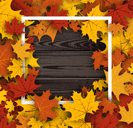 Wooden texture autumn background with golden maple leaves. Vector illustration.