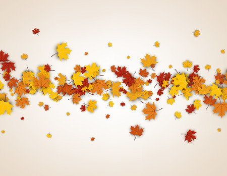 maple leaves: Autumn background with golden maple leaves. Vector paper illustration.