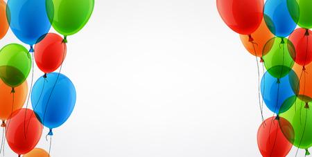 Fond blanc avec des ballons de couleur. Vector illustration.
