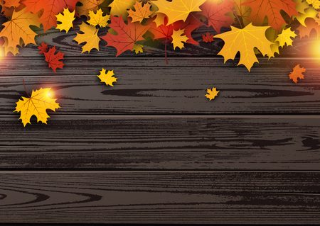 ligneous: Wooden texture autumn background with golden maple leaves. Vector illustration.